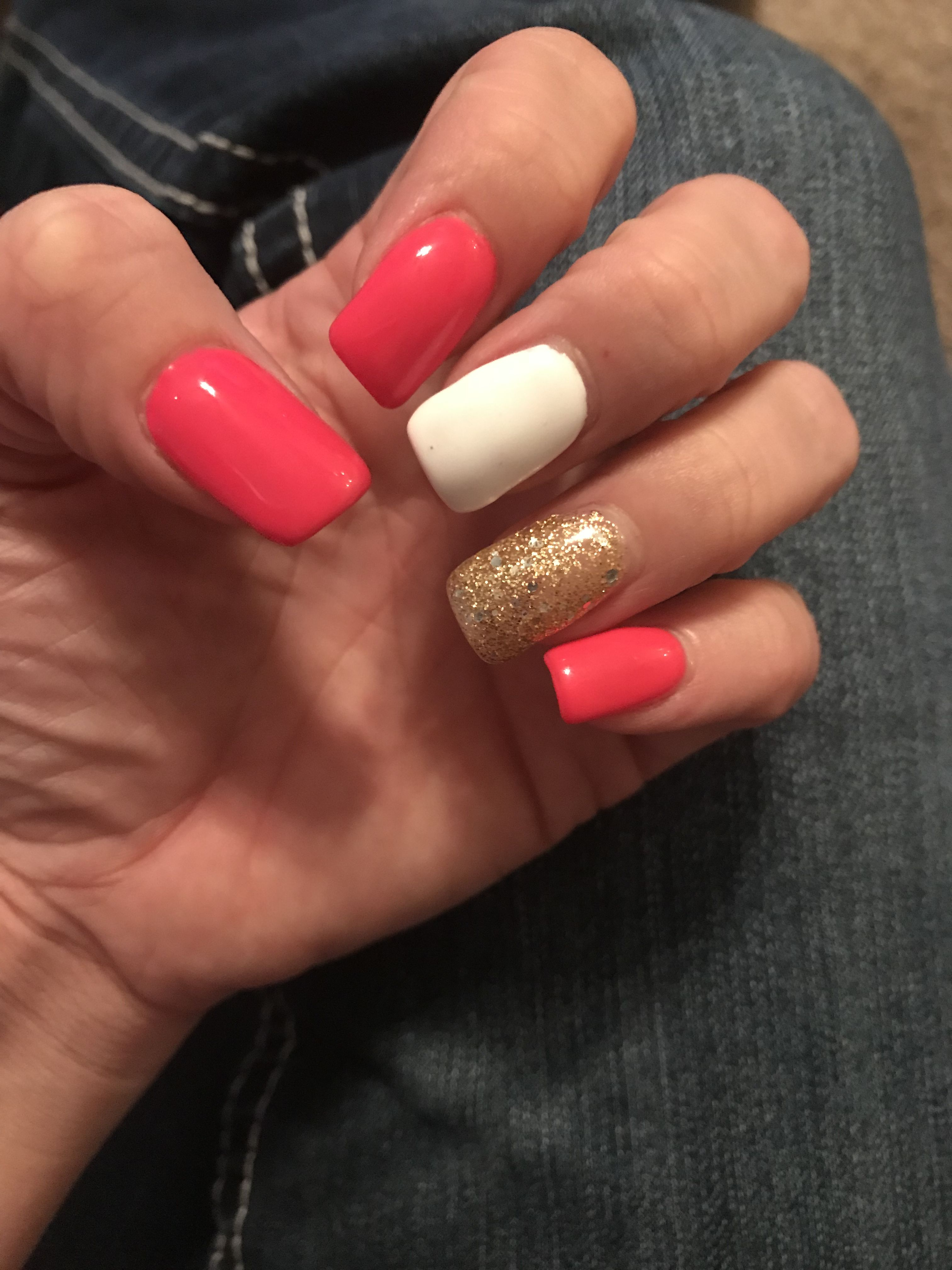 Pink White Gold Nails