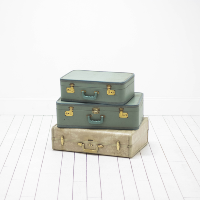 Vintage Suitcases | Wedding Props l Stacked Luggage Side Table l Birch & Brass Vintage Rentals | Weddings and Corporate Events | Austin, Texas