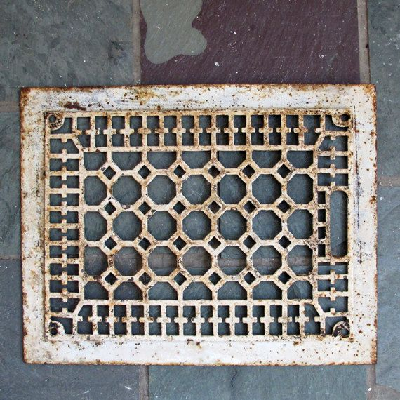 Antique Heat Grate Cast Iron Register Cover Decorative Restoration Repurpose