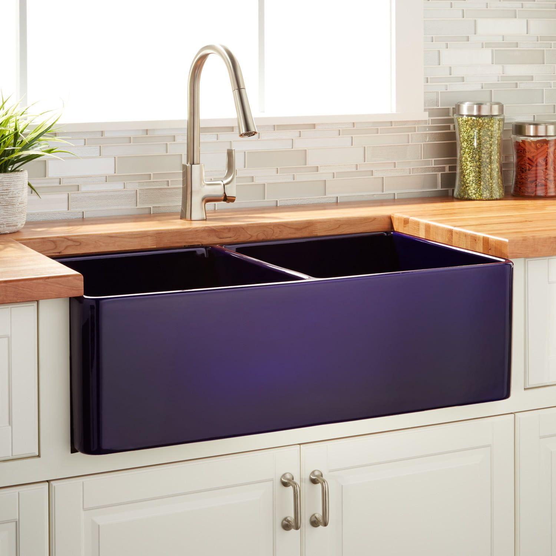 30 Reinhard Fireclay Farmhouse Sink Sapphire Blue Kitchen