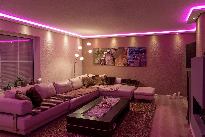 stuckleisten lichtprofil fr indirekte led beleuchtung von wand und decke stuckleiste aus hartschaum - Led Beleuchtung Wohnzimmer Ideen