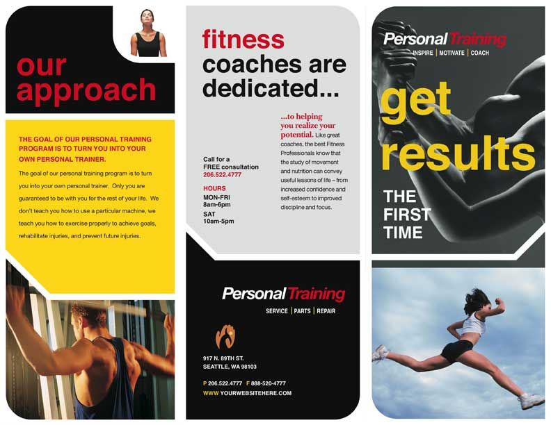 Personal training marketing projects to try pinterest for Personal brochure templates