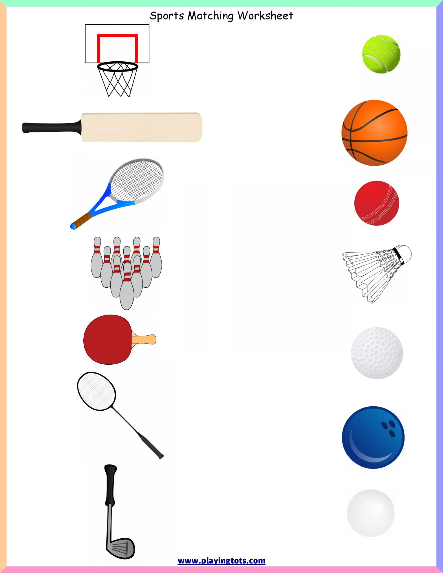 Preschool Worksheet For Ball Study And Keywords Matching