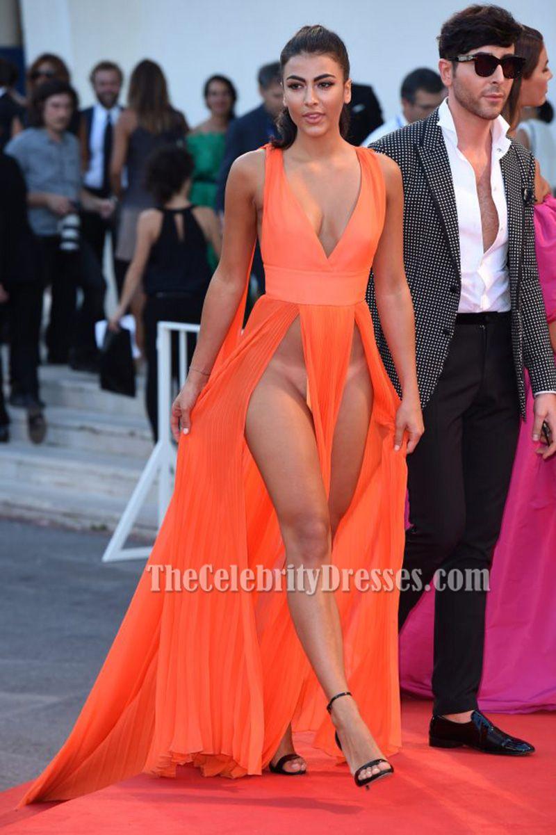 giulia salemi orange sexy evening dress 'brimstone' premiere 2016
