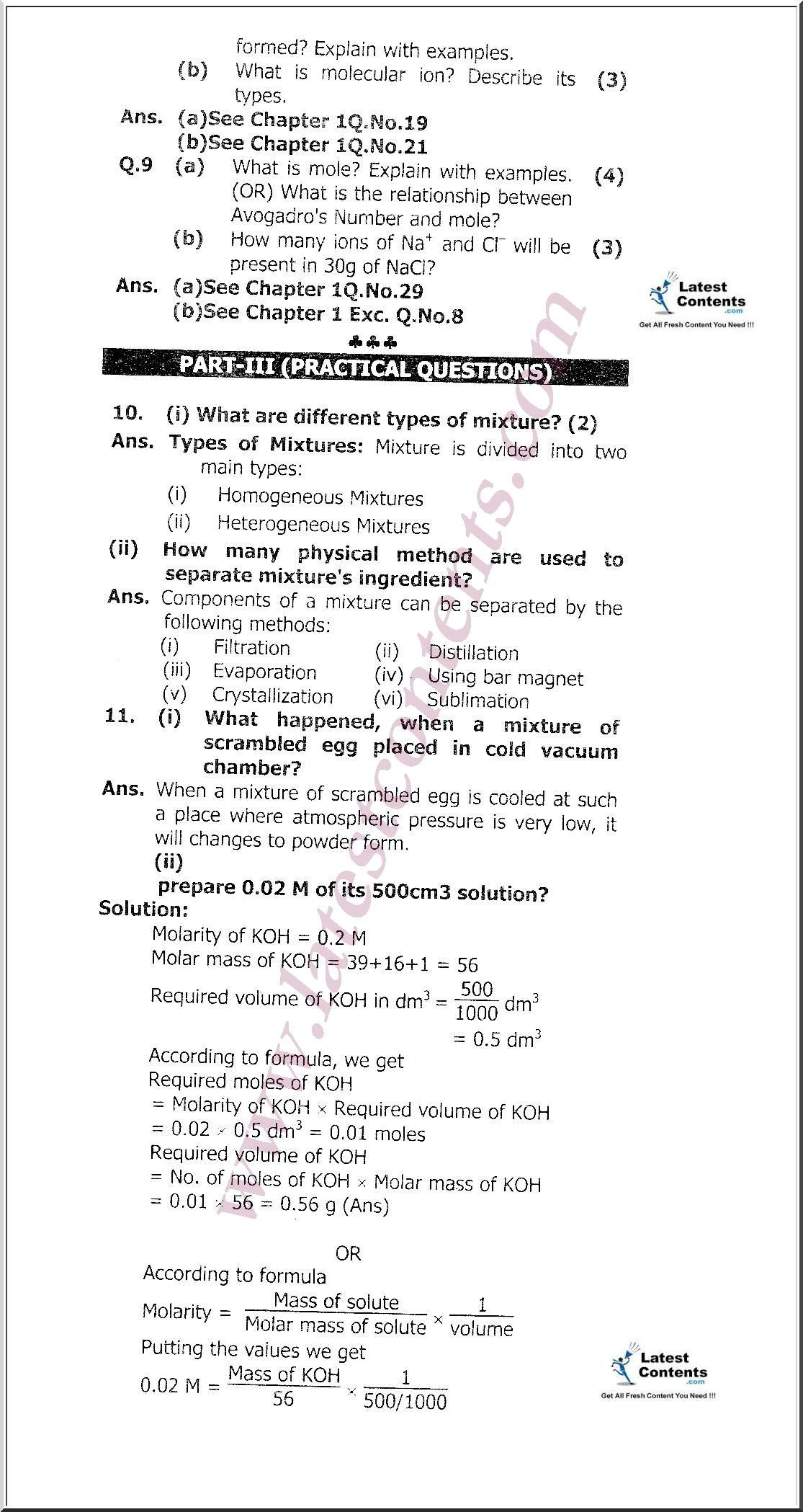 Molarity M Worksheet Answers