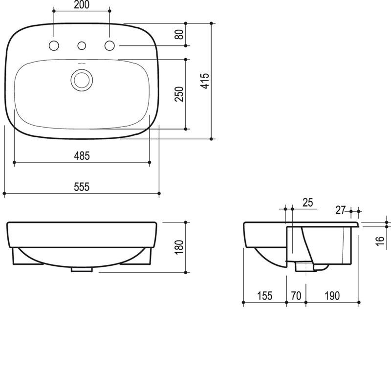 undermount bathroom sink dimensions regent semi recessed vanity basin dimensions http www 21125