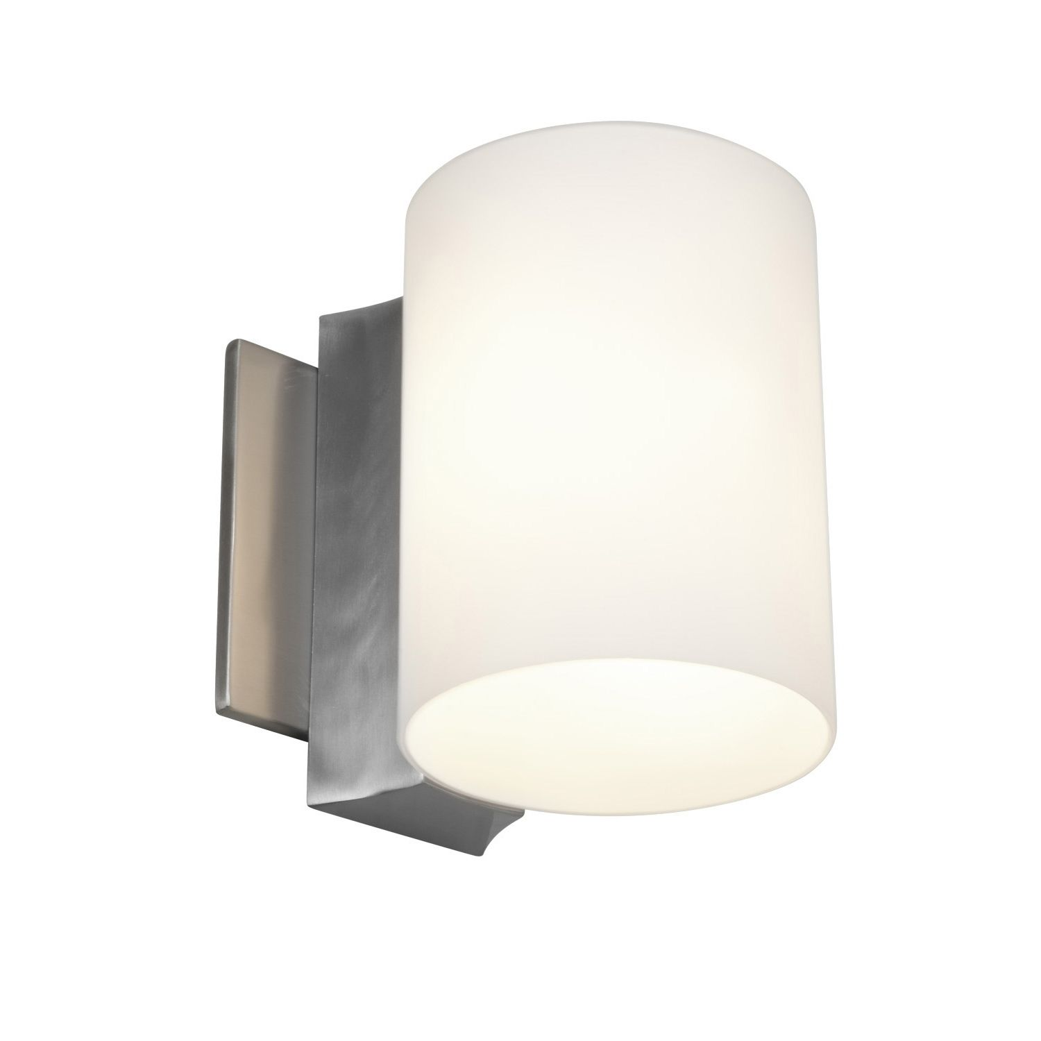 Stylize your home with this single-light wall sconce, which features an elegant brushed steel finish. This sconce features opal glass that will help evenly distribute your light, adding to the ambiance in your home. It is excellent for a hallway.