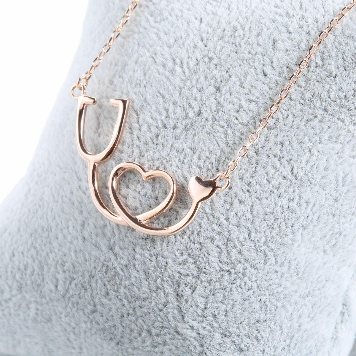 Medical stethoscope heart pendant necklace 925 sterling silver medical stethoscope heart pendant necklace 925 sterling silver mozeypictures Image collections