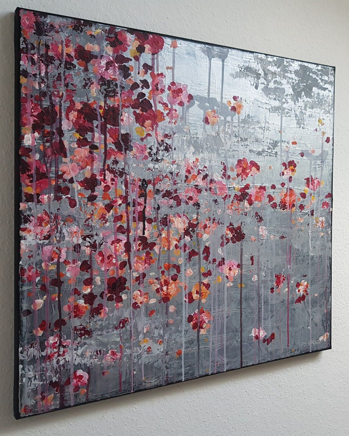 Db Flowers Acrylic 60x60 Malerei Auf Spachteltechnik Gold Acrylmalerei Abstrakt Abstrakte Malerei Acryl Abstrakte Malerei