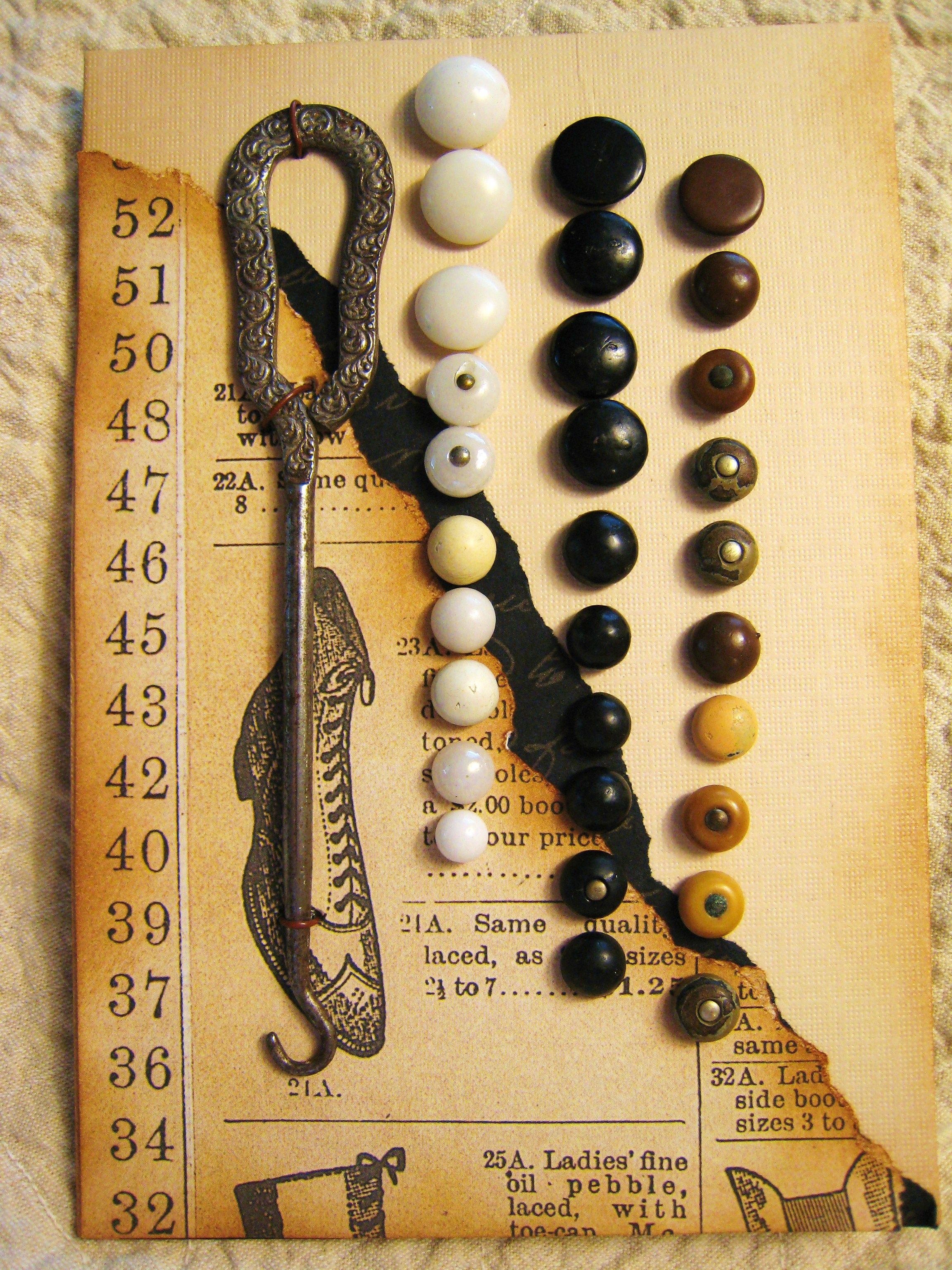 old shoe buttons on scrapbook card