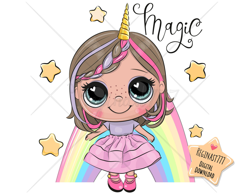 Cute Girl Unicorn And Png Digital Download Clipart Etsy In 2021 Princess Cartoon Cute Cartoon Cute Cartoon Girl