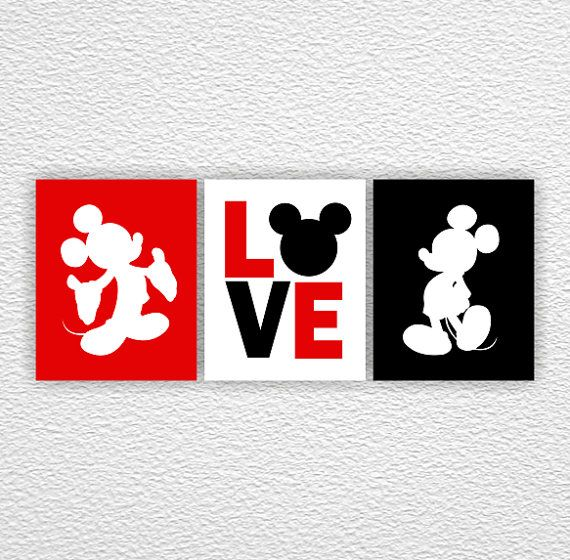 Mickey Mouse Wall Art disney silhouette, mickey mouse wall art, love, white, red, black