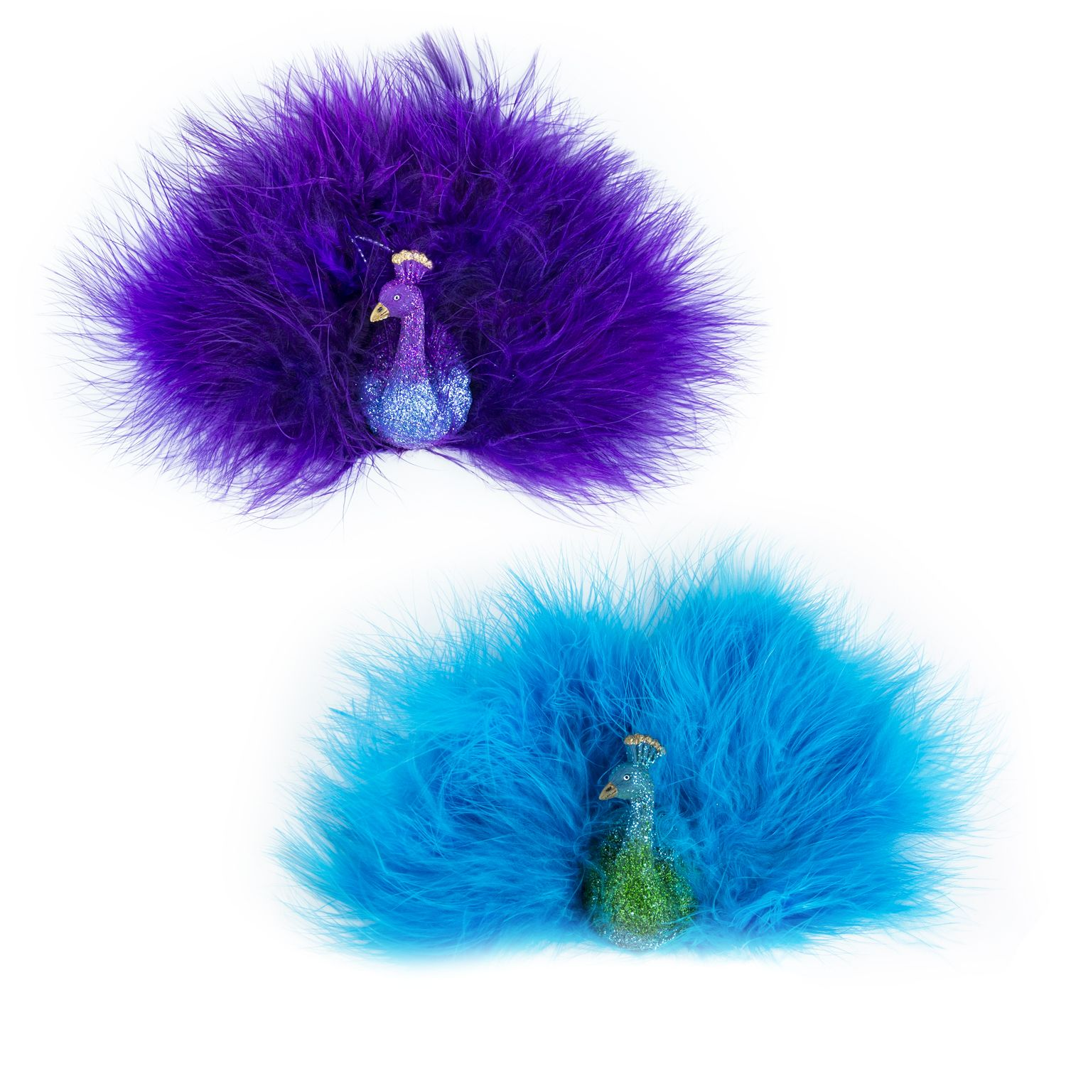 Teal & Purple Peacock Ornaments (Set of 2)