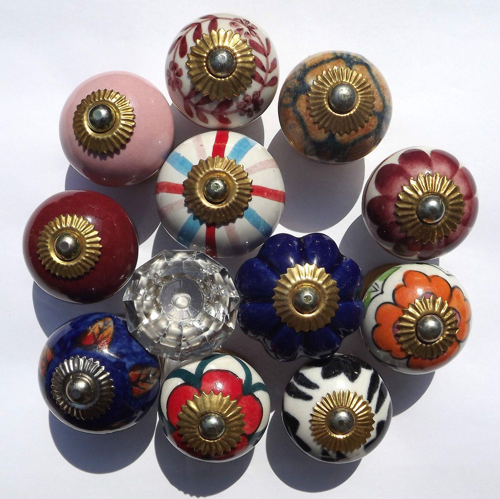 Ceramic Porcelain Cupboard China Door Knobs 12 Types Glass Doorknobs ...