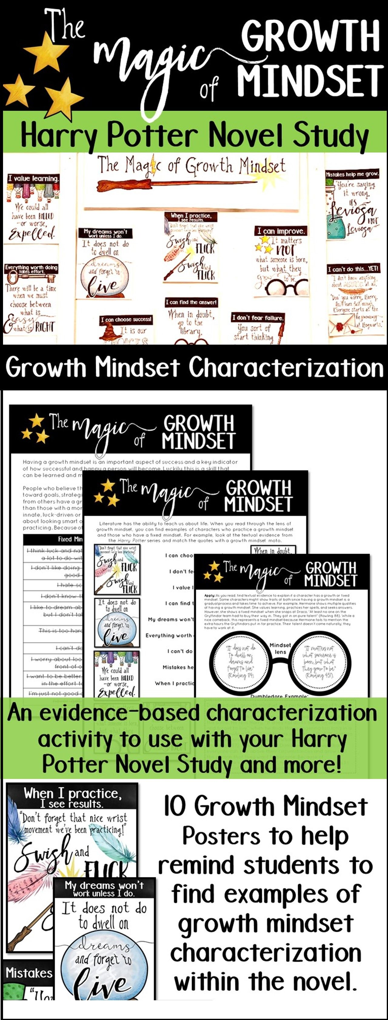 This Harry Potter Novel Study Helps Students Study Characterization Through The Lens Of Growth Mindset Novel Studies Growth Mindset How To Memorize Things