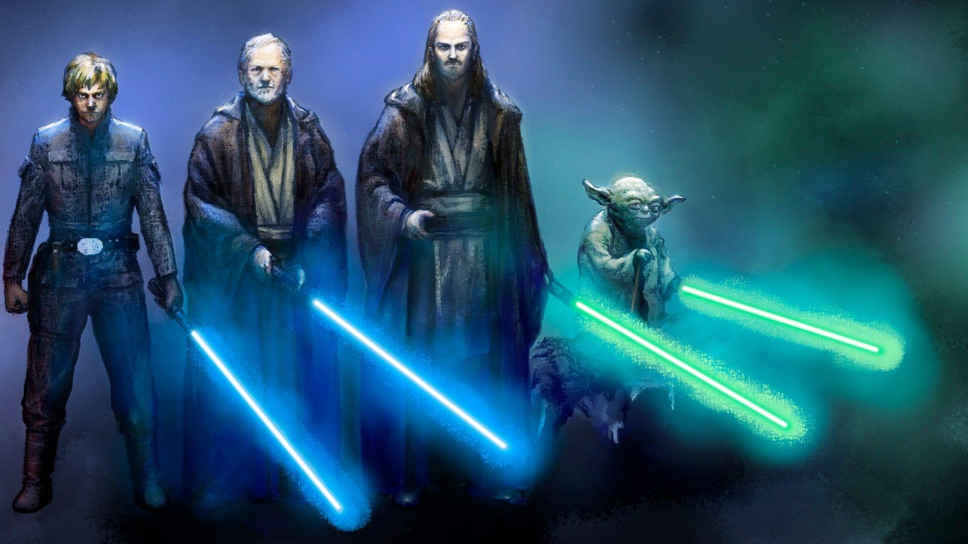 Star Wars Blue Lightsabers Luke Skywalker Yoda Obi Wan Kenobi Qui Gon Jinn Wallpaper 2470713 Wallbase Star Wars Jedi Star Wars Wallpaper Star Wars Yoda