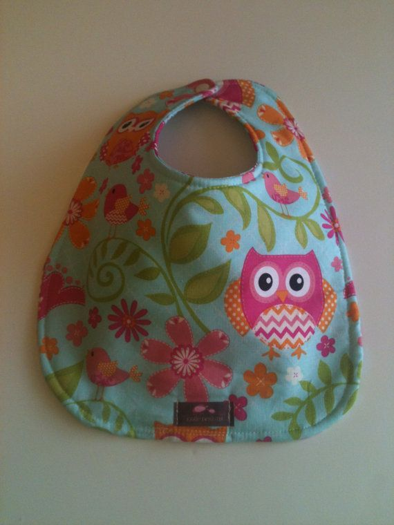 Baby Bib  Pink Owls  10 x 12.5 by Essiedesigns on Etsy
