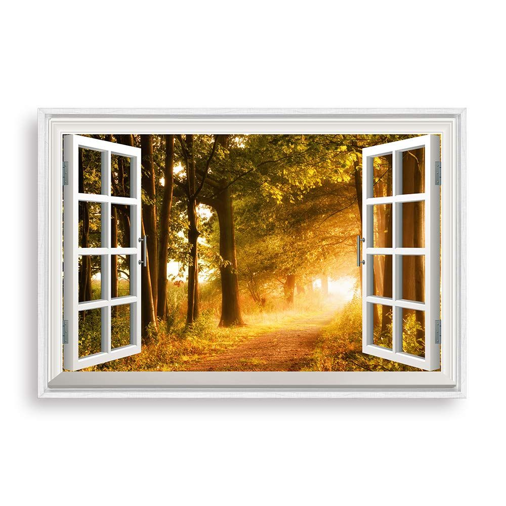 Nwt Framed Canvas Wall Art For Living Room Bedroom Fake Window Sunny Day Canvas Prints For Home Decoration Ready To Ha Fake Window Living Room Art Wall Canvas