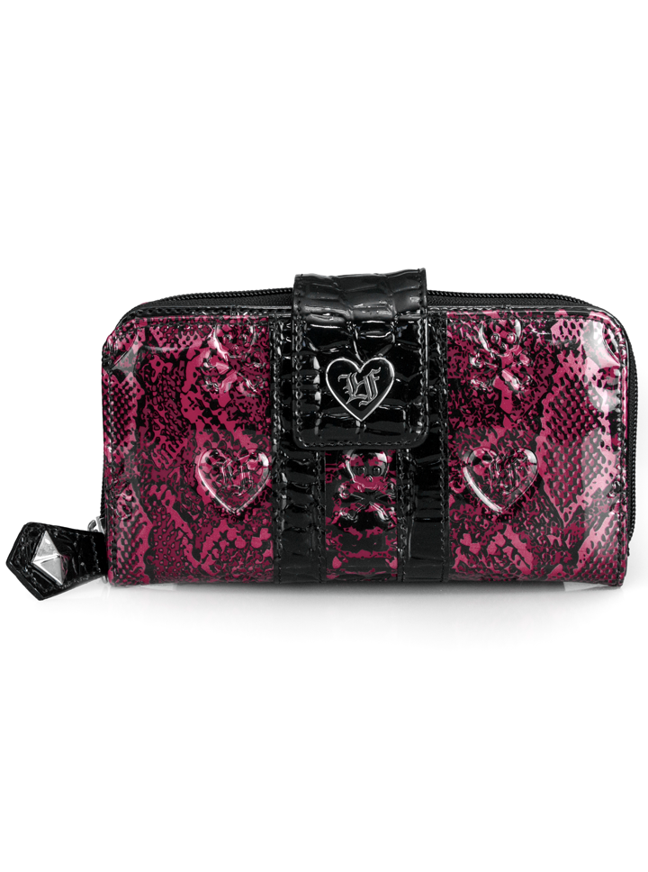 """Snake+Skin""+Patent+Embossed+Wallet+by+Loungefly+(Pink)"