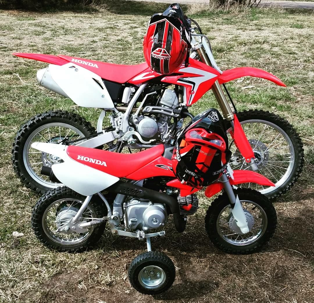 Father Son Matching Honda Dirt Bikes Red White Black 125cc 50cc 50cc Dirt Bike Honda Dirt Bike Father And Son