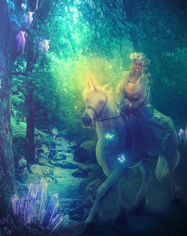 Enchanted Forest Unicorn And Fairies Unicorn Fantasy Unicorns And Mermaids