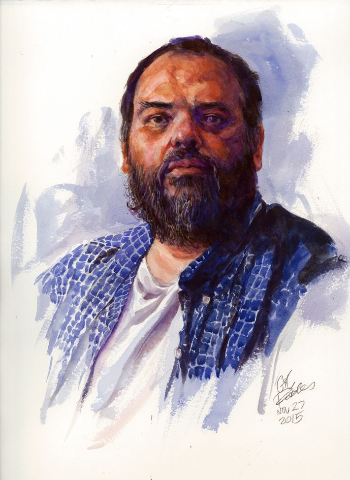 Self Portrait Watercolor On 300 Lb Arches Cold Pressed Watercolor