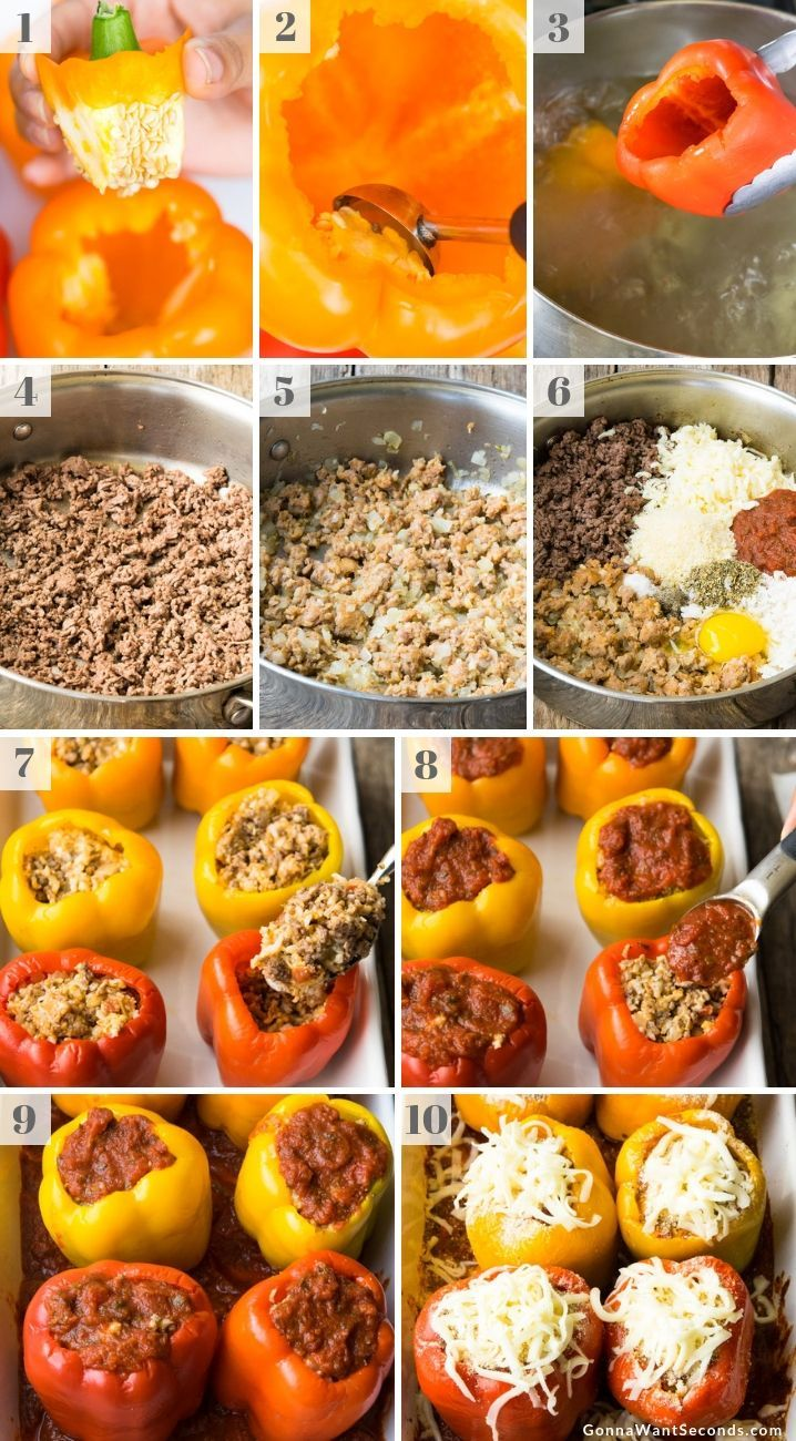 Italian Stuffed Peppers #stuffedbellpeppers Our Italian Stuffed Peppers have a meaty stuffing bursting with classic Italian flavors, marinara sauce, and cheese all packaged up in a sweet bell pepper! #bellpepperrecipes