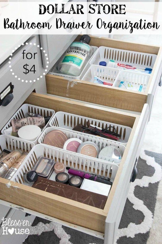 Dollar Store Bathroom Drawer Organization  Organizing