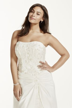strapless satin aline gown with beaded lace corset bodice