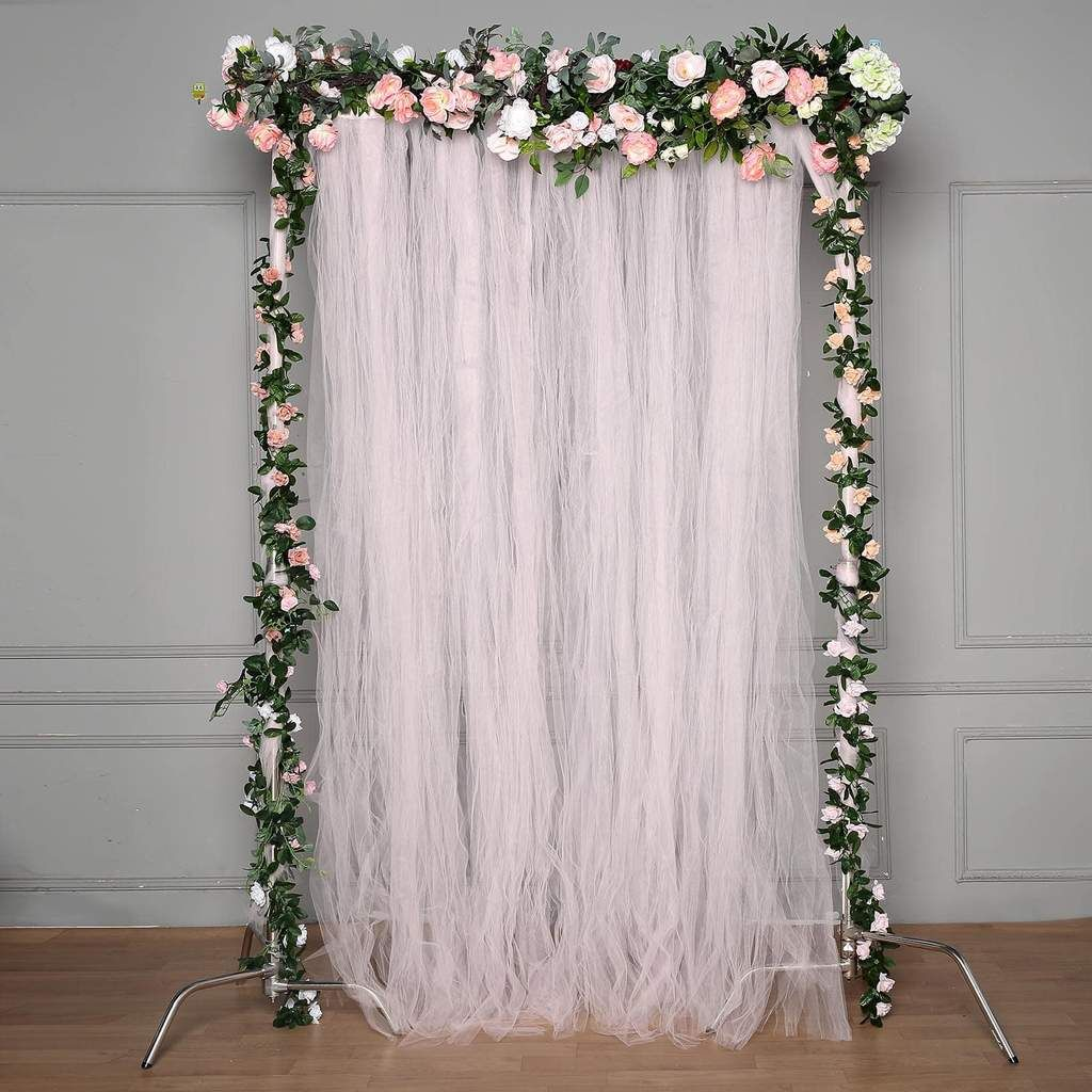 5 Ft X 10 Ft Double Sided Tulle Backdrop Sheer Curtain Panels
