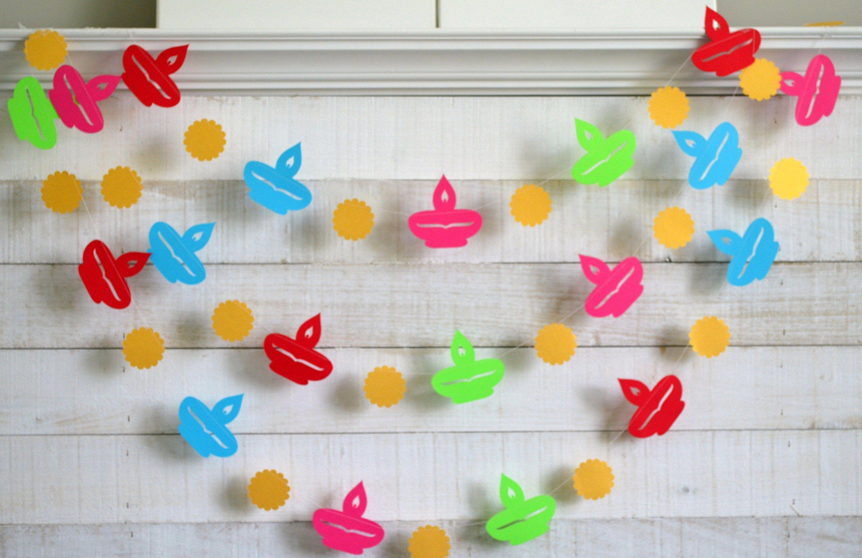 Diya Garland, Diwali decorations, Diwali Photo backdrop, Happy Diwali decorations, Diyas