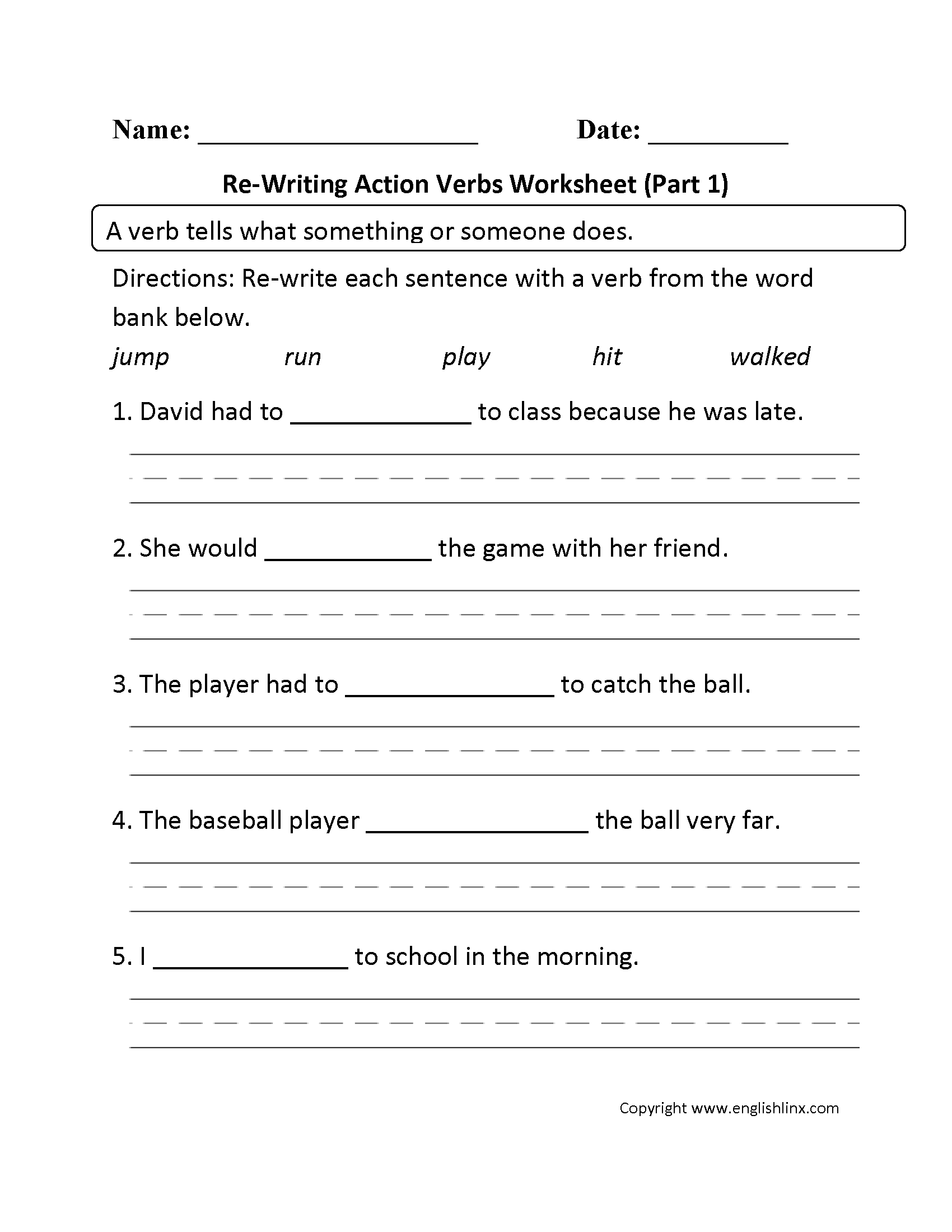 Free action verb worksheets 3rd grade