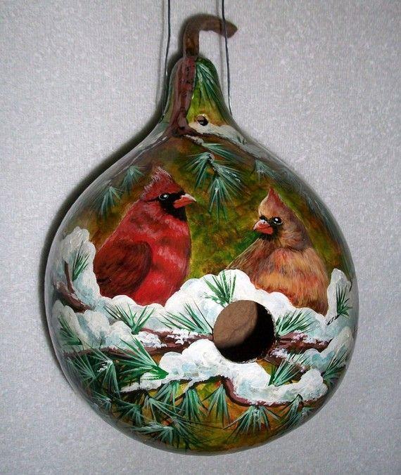 gourd birdhouses | handpainted gourd birdhouse cardinals in snow | Wallpaper Lovers