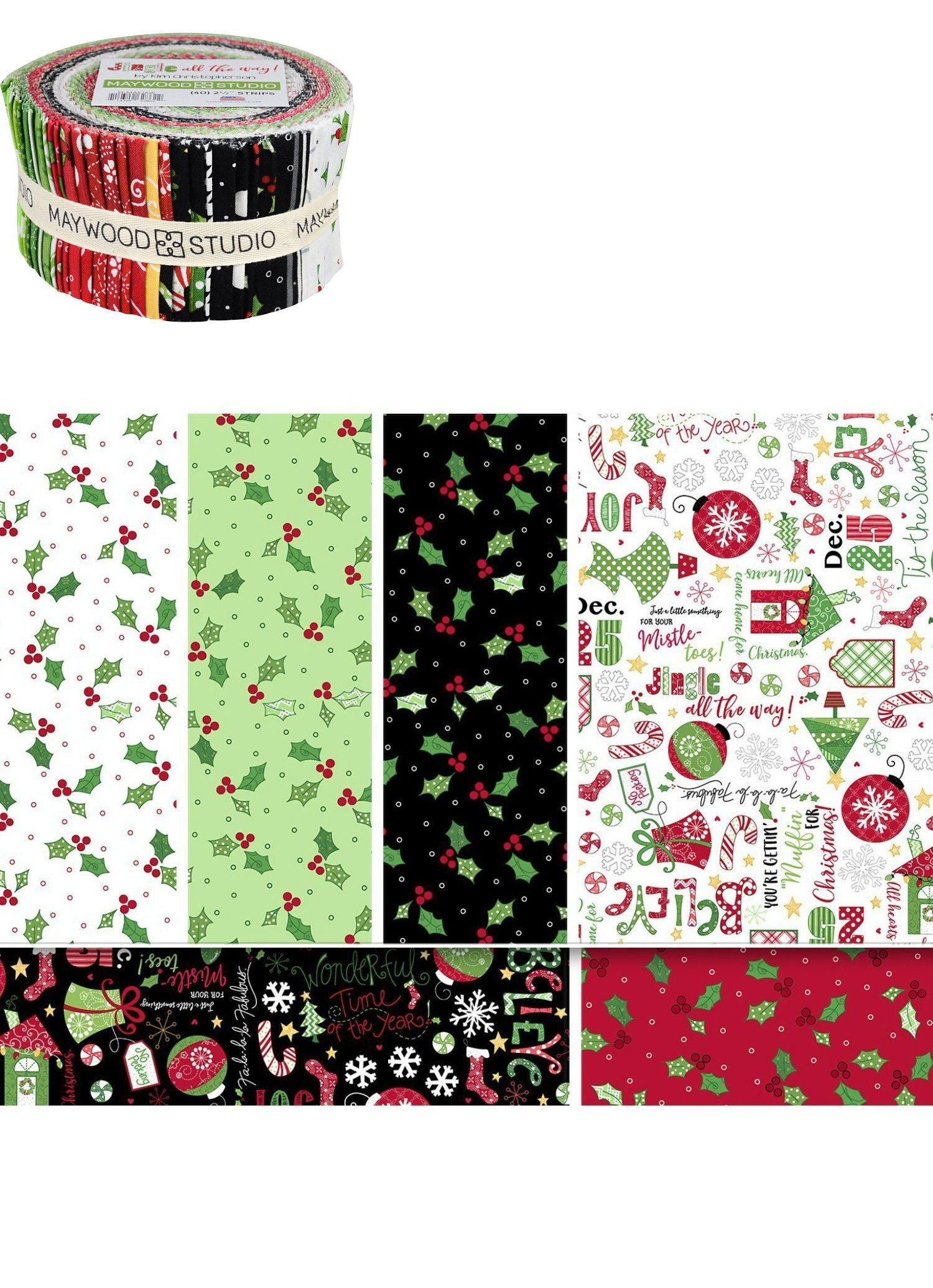 fabric 28162 jingle all the way christmas jelly roll pre cut quilt fabric strips by