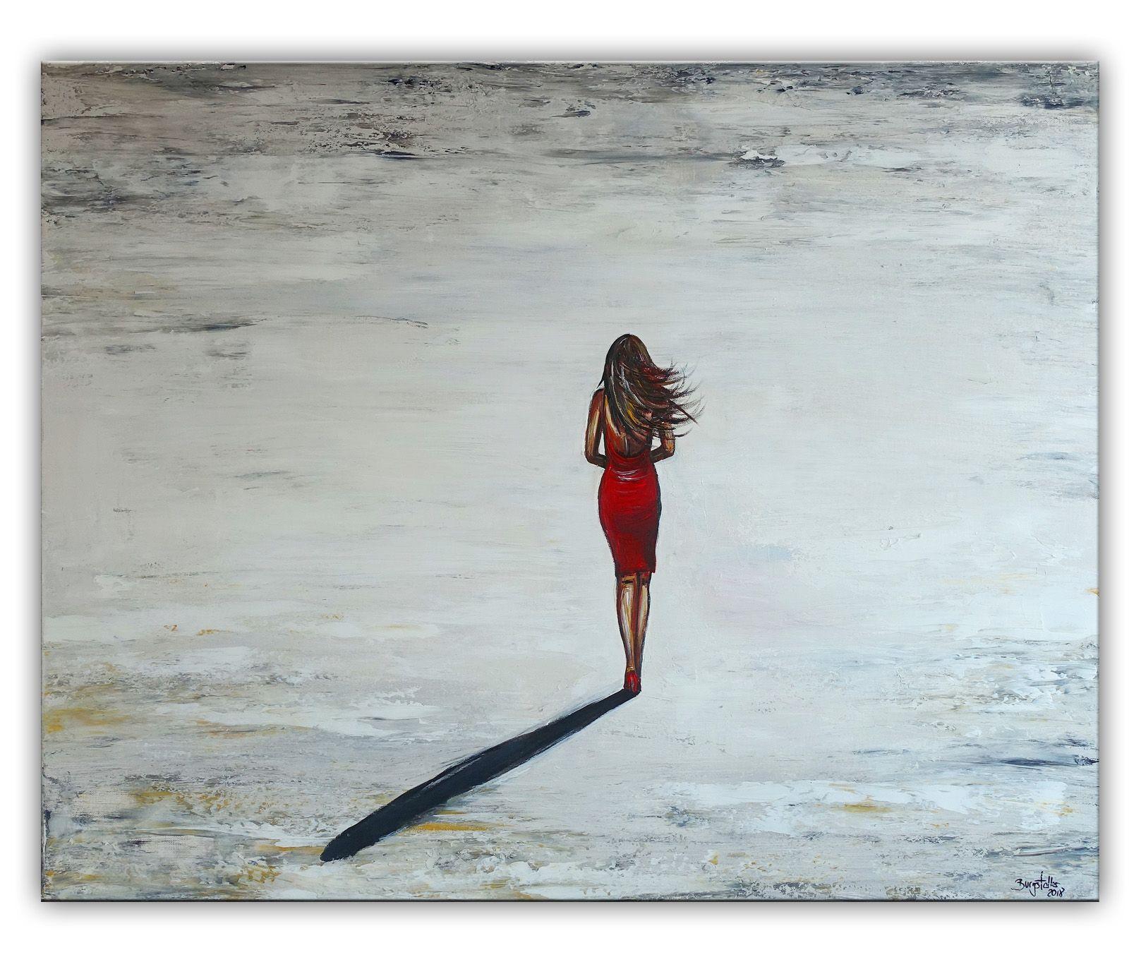 Frau Rotes Kleid Strand Gemalde Wandbild Handgemalt In 2020