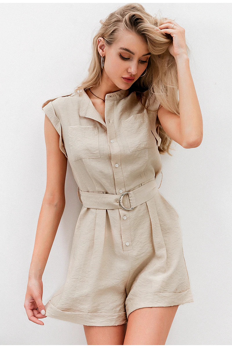 Fleepmart  Casual sash belt women playsuit Sleeveless buttons pockets female rompers jumpsuit Spring summer elegant ladies overalls