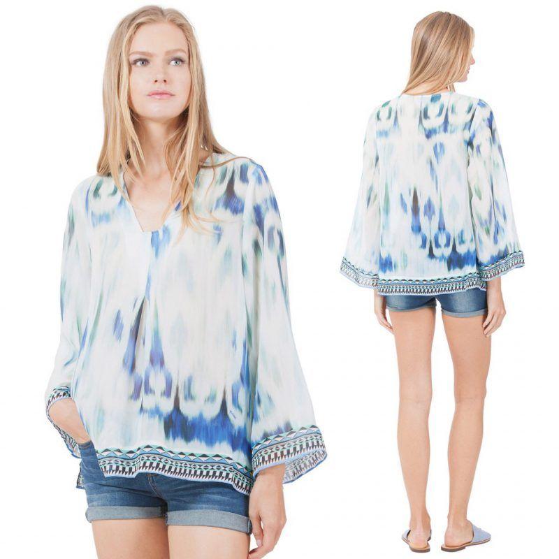 Blåmønstret håndbrodert silke bluse Hale Bob – 72ks2187