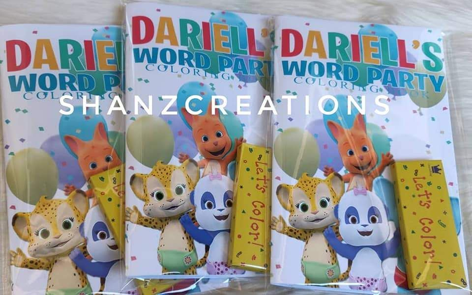 Word Party Coloring Activity Book Set Of 12 Color Activities 1st Birthday Party Themes Party Themes