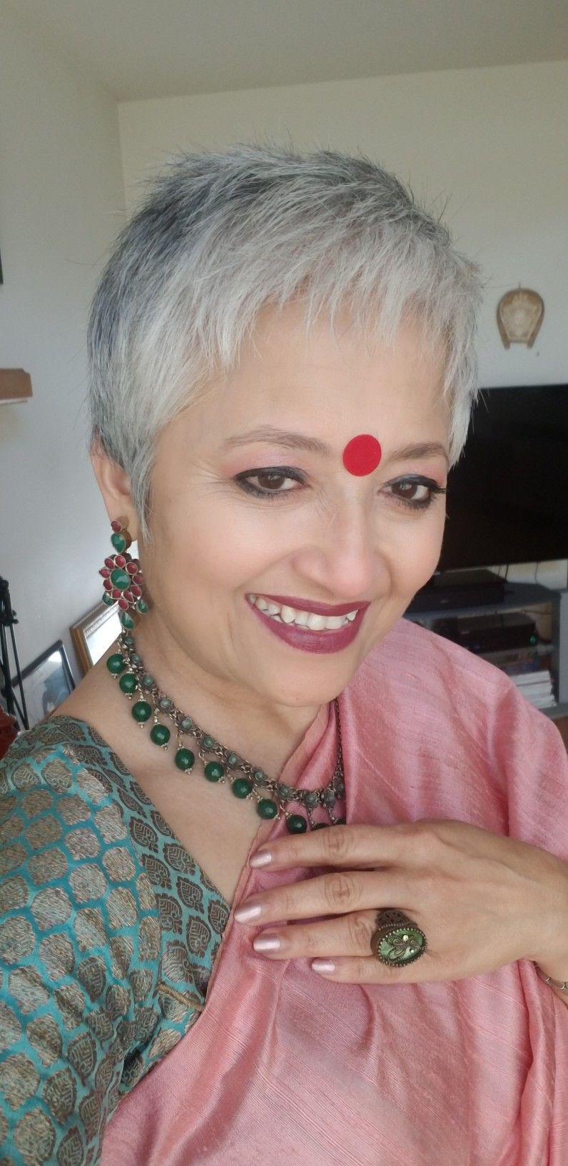 pixie cut silver hair with indian attire. | grey hair style | short