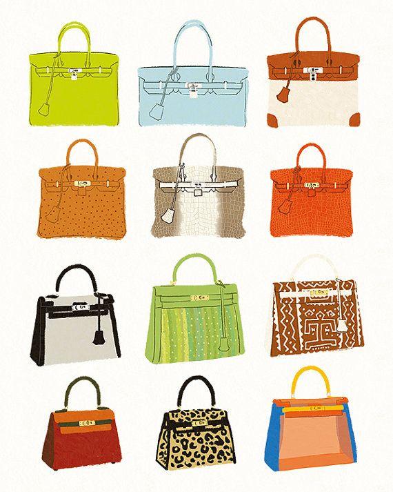 Hermes Birkin Bag & Hermes Kelly Bag Fashion Illustration