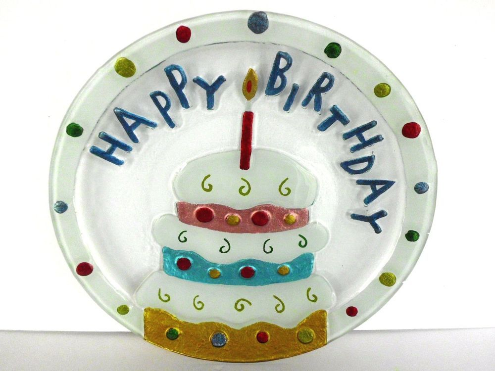Fused Art Glass Happy Birthday Cake Platter Plate Serving Dish