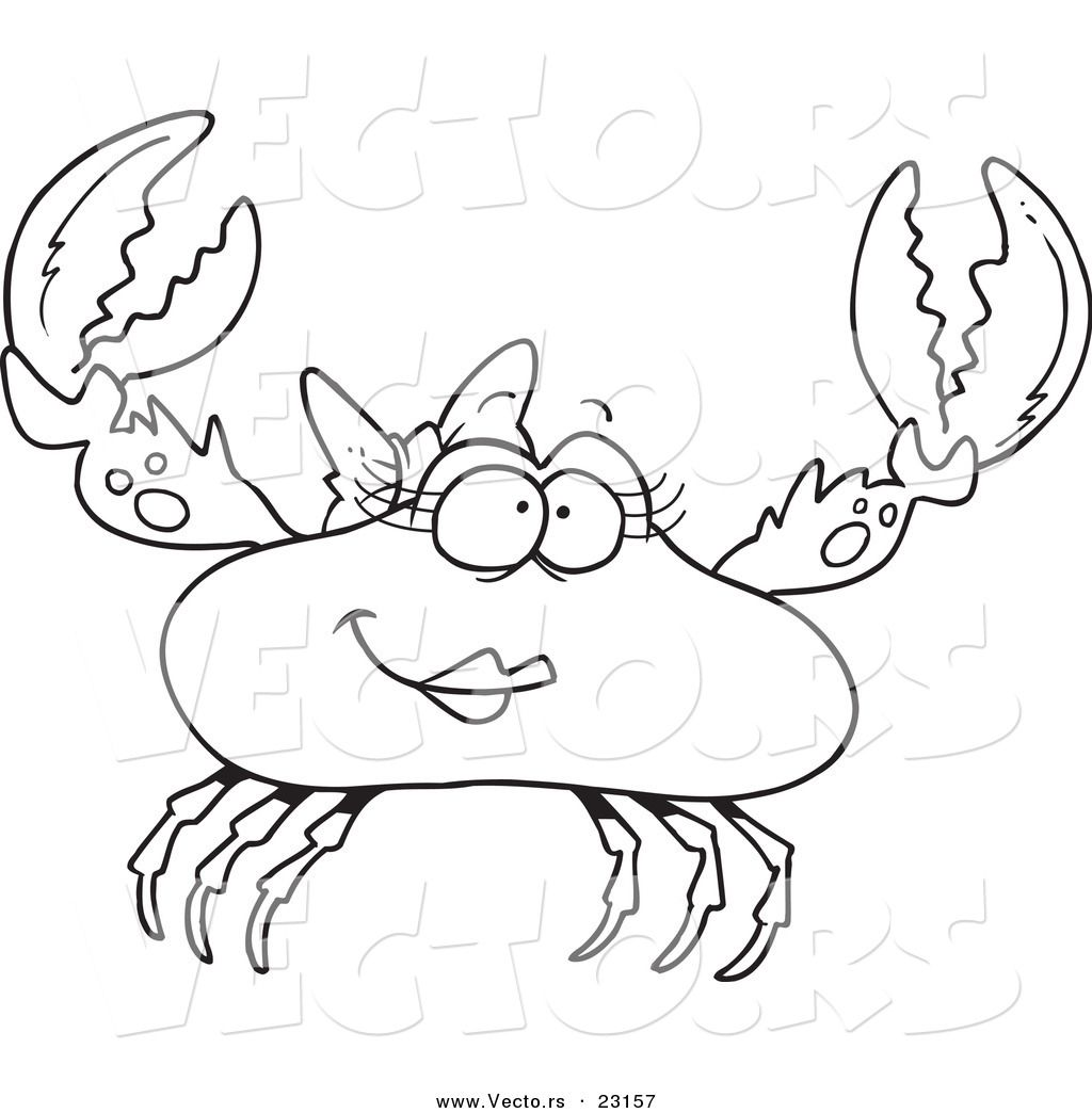 Vector of a Cartoon Female Crab - Coloring Page Outline by Ron ...