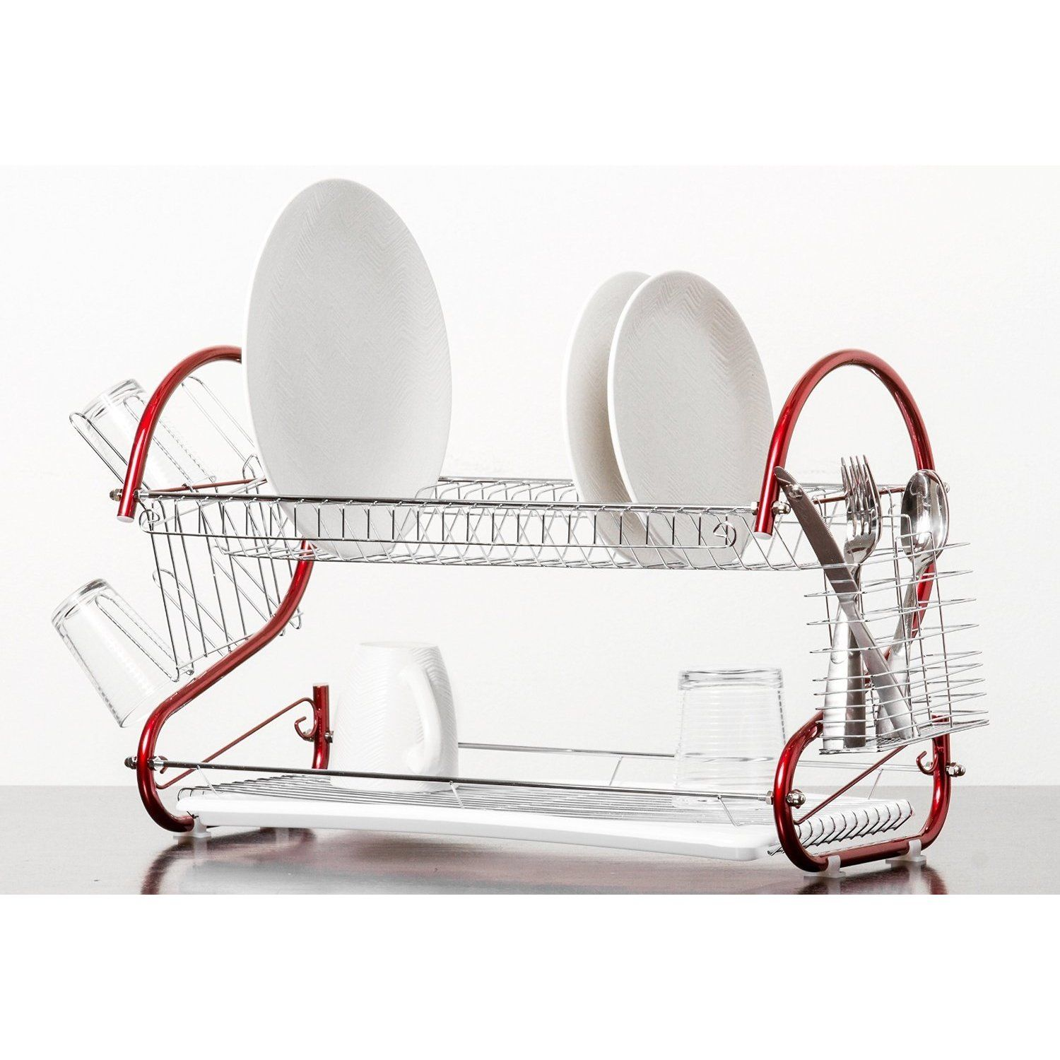 Imperial Home Red Stainless Steel Silver 2 Tier Dish Drying Rack