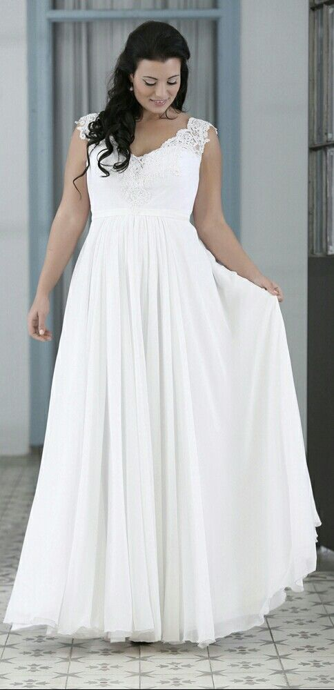 Simple chiffone plus size wedding gown with V- neck. Orel. Studio ...