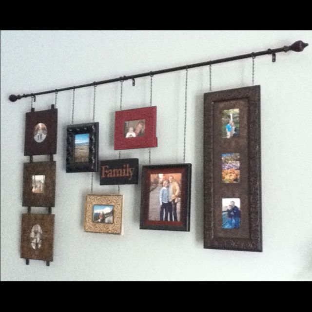 Frame collage I made. - hang from a curtain rod to save holes in the ...