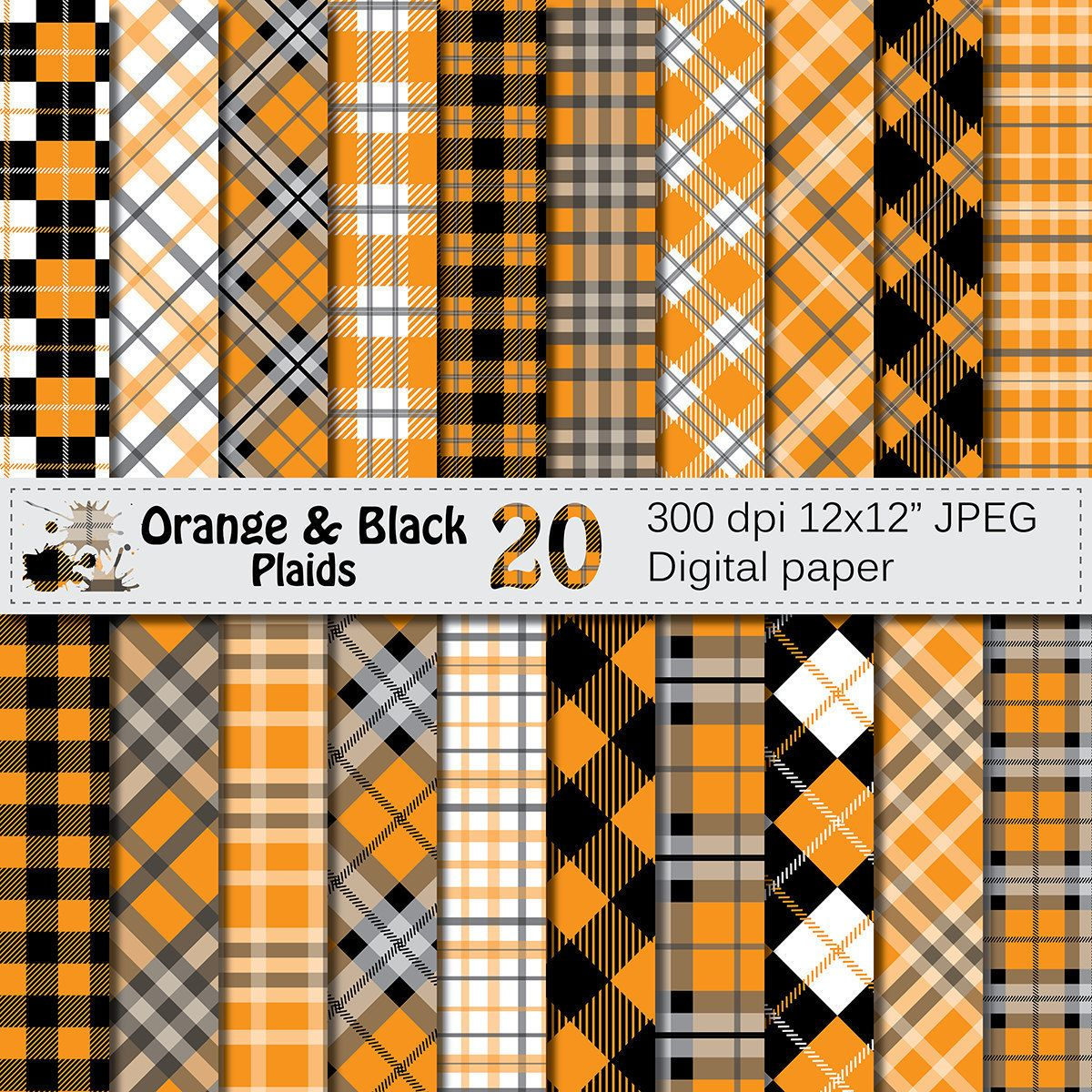 Scrapbook paper etsy - Orange And Black Plaids Digital Paper Buffalo Plaid Lumberjack Check Digital Papers Black Orange Geometric Scrapbook Paper Download