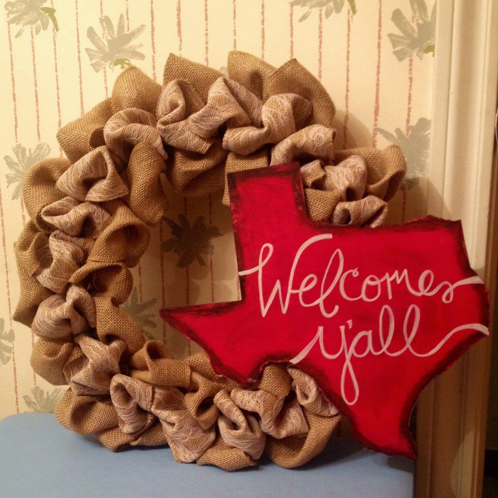 """Texas Wreath """"welcome Y'all!"""""""