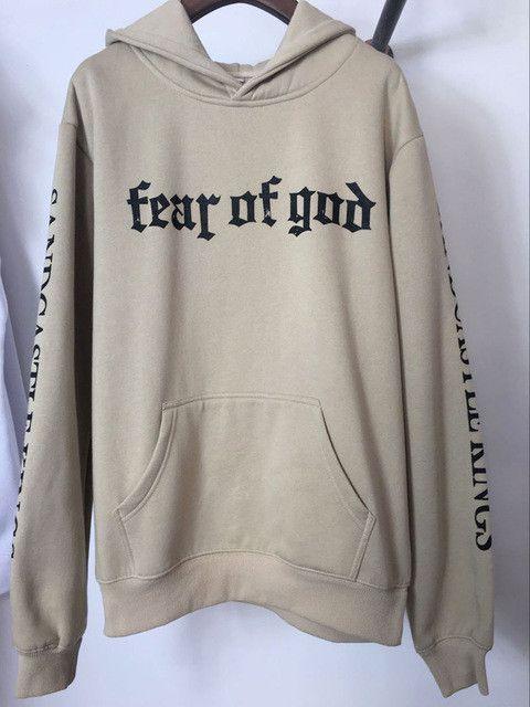 d5b8c5bbf Khaki Hoodie streetwear hoodies men oversized style Printed hooded  sweatshirts fear god clothing hiphop with thin fleece hoody