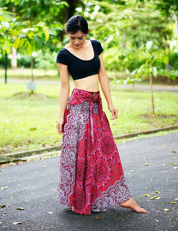f47dcf23c02 New Skirt - Dresses Rayon Elastic Waist Boho Clothing Beach Women Baggy  Casual Red SK90099