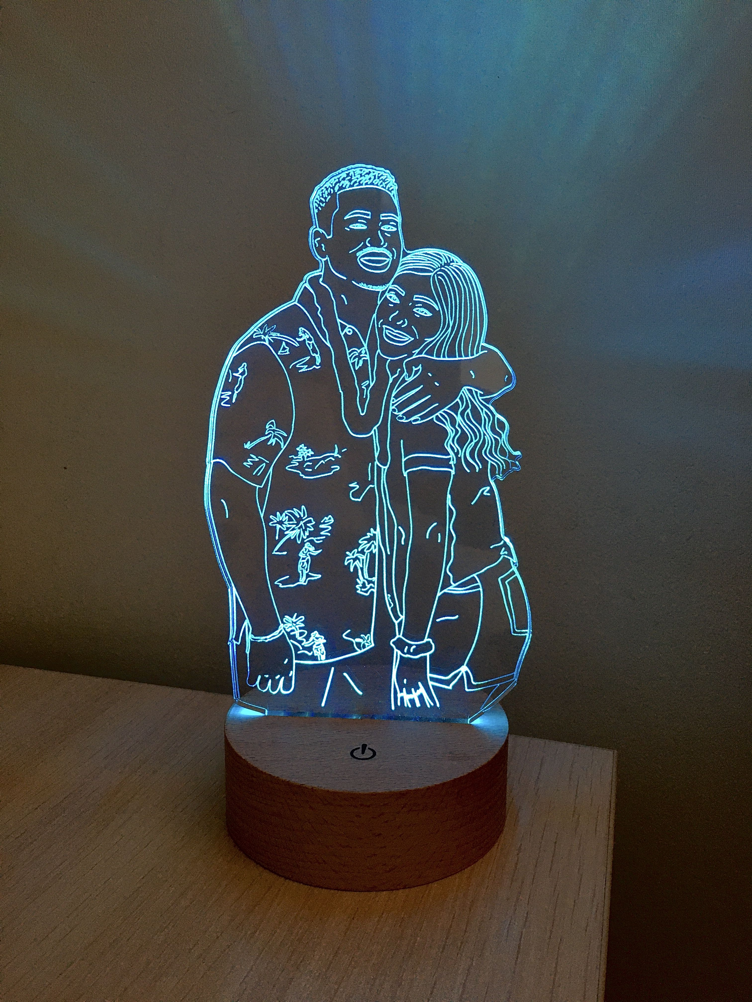 Custom Photo Desk Led Lamp Drawing From Photo 5th Anniversary Etsy In 2020 Family Photo Gifts Cute Anniversary Gifts 3d Led Lamp
